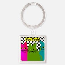 Vet TEch 3 CATS Whimiscal Square Keychain