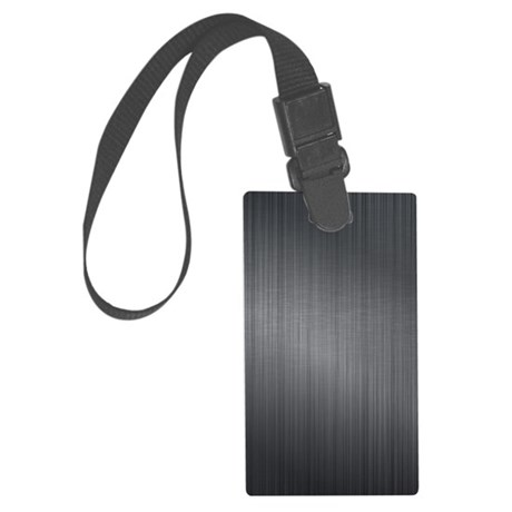 Dark Gray Brushed Aluminum Metal Large Luggage Tag