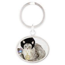 Ghetto kitty Oval Keychain