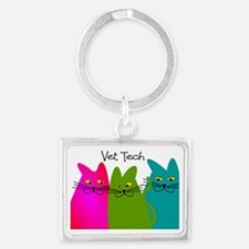vet tech whim cats Landscape Keychain