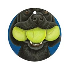 Black Lab with 3 tennis balls Round Ornament