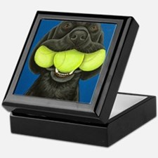 Black Lab with 3 tennis balls Keepsake Box