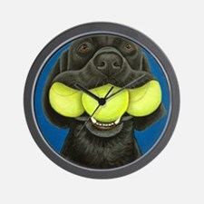 Black Lab with 3 tennis balls Wall Clock