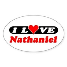 I Love Nathaniel Oval Decal