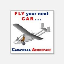 "Flying Roadable Aircraft Square Sticker 3"" x 3"""