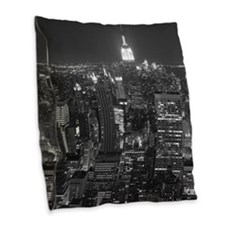 New York City at Night. Burlap Throw Pillow