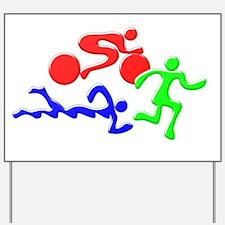 Triathlon Color Figures 3D Yard Sign