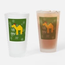 Camel Happy Holidays! Round Ornamen Drinking Glass