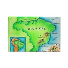 Map of Brazil Rectangle Magnet