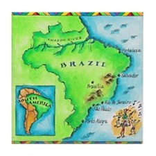 Map of Brazil Tile Coaster