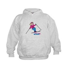 Skiing Woman Blue and Pink Hoodie