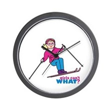 Skiing Woman Blue and Pink Wall Clock