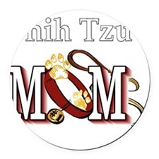 Shih Tzu Mom Round Car Magnet