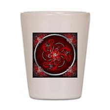 Red Triple Celtic Dragons Tapestry Shot Glass