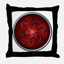 Triple Celtic Dragons - Red Throw Pillow