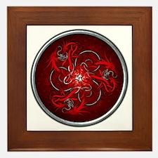 Triple Celtic Dragons - Red Framed Tile