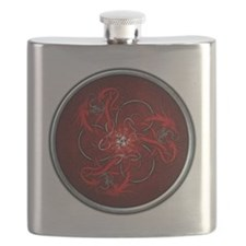 Triple Celtic Dragons - Red Flask