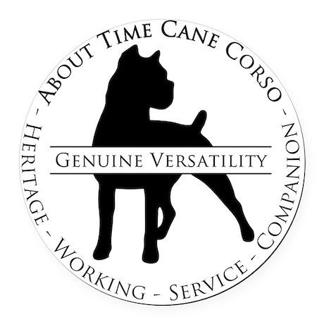 About Time Cane Corso Logo (Black Round Car Magnet