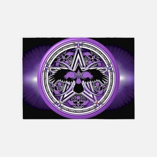 Purple Crow Pentacle Banner 5'x7'Area Rug