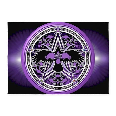 Nice Purple Crow Pentacle Banner 5u0027x7u0027Area Rug