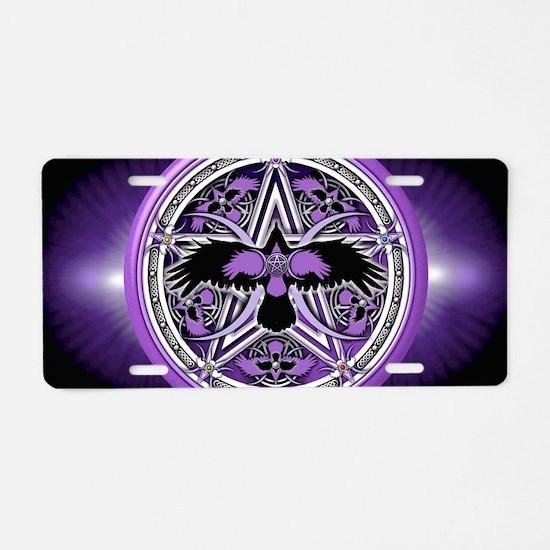 Purple Crow Pentacle Banner Aluminum License Plate