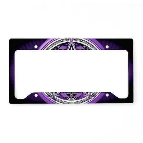 Purple Crow Pentacle Banner License Plate Holder