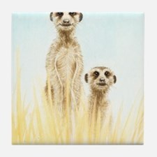 Two Meerkats Panel Print Tile Coaster