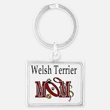 Welsh Terrier Mom Landscape Keychain