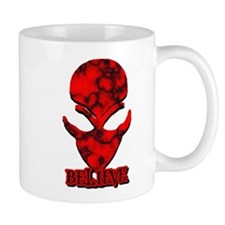 Red Marble Believe Alien Mug