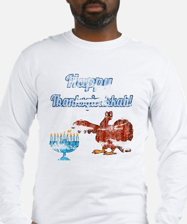 Vintage Happy Thanksgivukkah 4 Long Sleeve T-Shirt