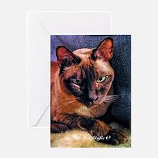 Tonkinese on Blue Sofa Greeting Card