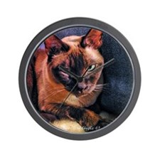 Tonkinese on Blue Sofa Wall Clock
