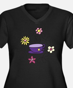 Tea Time Women's Plus Size Dark V-Neck T-Shirt