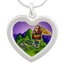 Angel de Machu Picchu Silver Heart Necklace