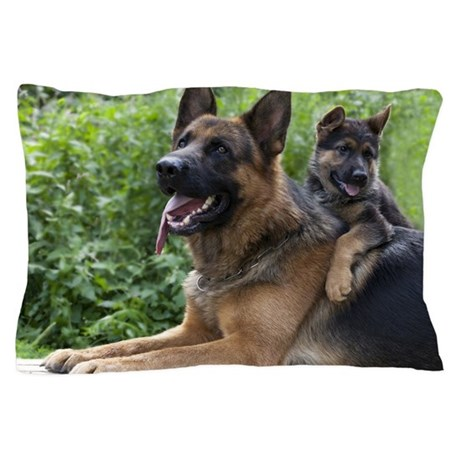 German Shepherd and Puppy Pillow Case