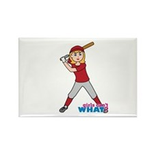 Softball Girl Red and Grey Rectangle Magnet