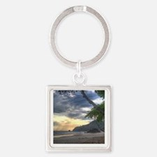 Costa Rica Beach Sunset Square Keychain