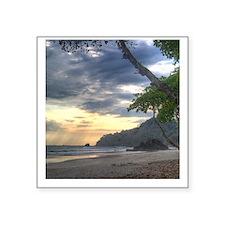 """Costa Rica Beach Sunset Square Sticker 3"""" x 3"""""""