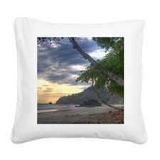 Costa Rica Beach Sunset Square Canvas Pillow
