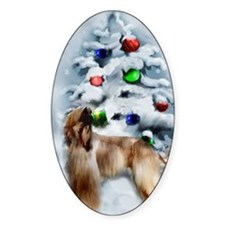 Afghan Hound Christmas Decal