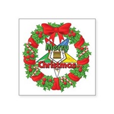 "OES Christmas Wreath Square Sticker 3"" x 3"""