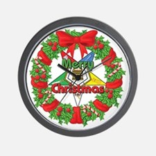 OES Christmas Wreath Wall Clock