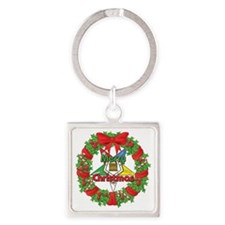 OES Christmas Wreath Square Keychain