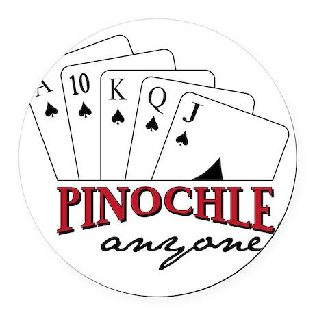 Pinochle Anyone? Round Car Magnet