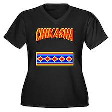 CHIKASHA Women's Plus Size Dark V-Neck T-Shirt