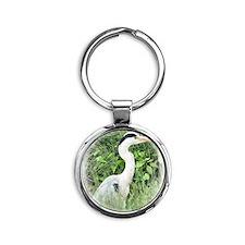 Heron1 Round Keychain