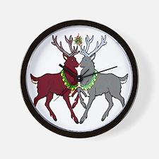 Mistletoe Reindeer Wall Clock