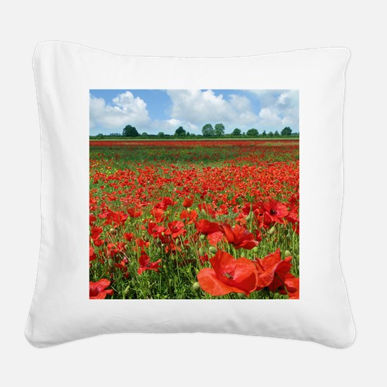 Poppy Fields Square Canvas Pillow