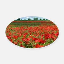 Poppy Fields Oval Car Magnet