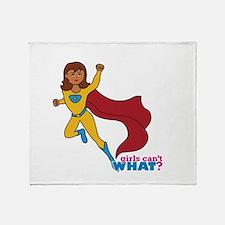 Superhero Girl Yellow and Blue Throw Blanket